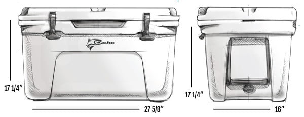 Coho Extreme 55 cooler - Dimensions