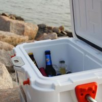 camping cooler with beer